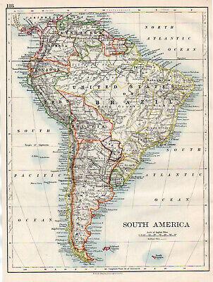 Map South America Brazil Boliva Ecuador W & AK Johnston 1902 Original Antique