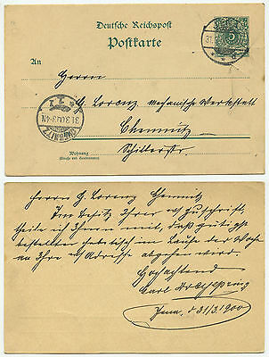 35802 - Ganzsache P 36 - Postkarte - Jena 31.3.1900 nach Chemnitz