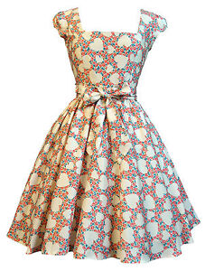 LADY VINTAGE SWING DRESS in 21 DIFFERENT PRINTS *50s ROCKABILLY RETRO* SIZE 8-22
