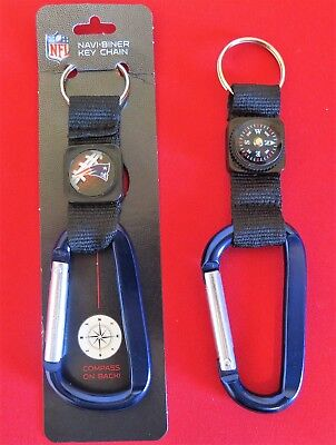 TWO (2) BEAUTIFUL, NEW ENGLAND PATRIOTS CARABINER COMPASS KEYCHAINS FROM RICO