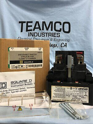 Square D 9421 Nib Disconnect Switch 3p 60a Class J Carrier