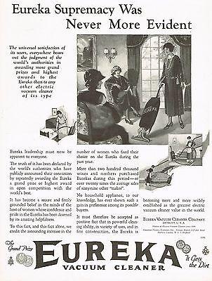 1920's BIG Old Vintage Eureka Vacuum Cleaner Co. Art Print Ad c