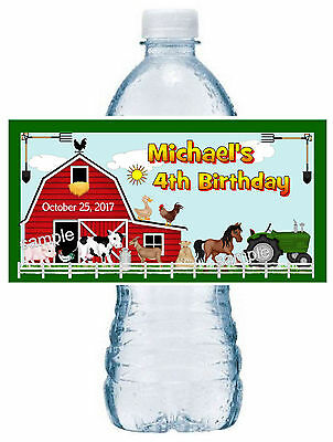 Farm Animal Party Favors (20 ~ FARM ANIMALS BIRTHDAY PARTY FAVORS WATER BOTTLE LABELS ~ waterproof)
