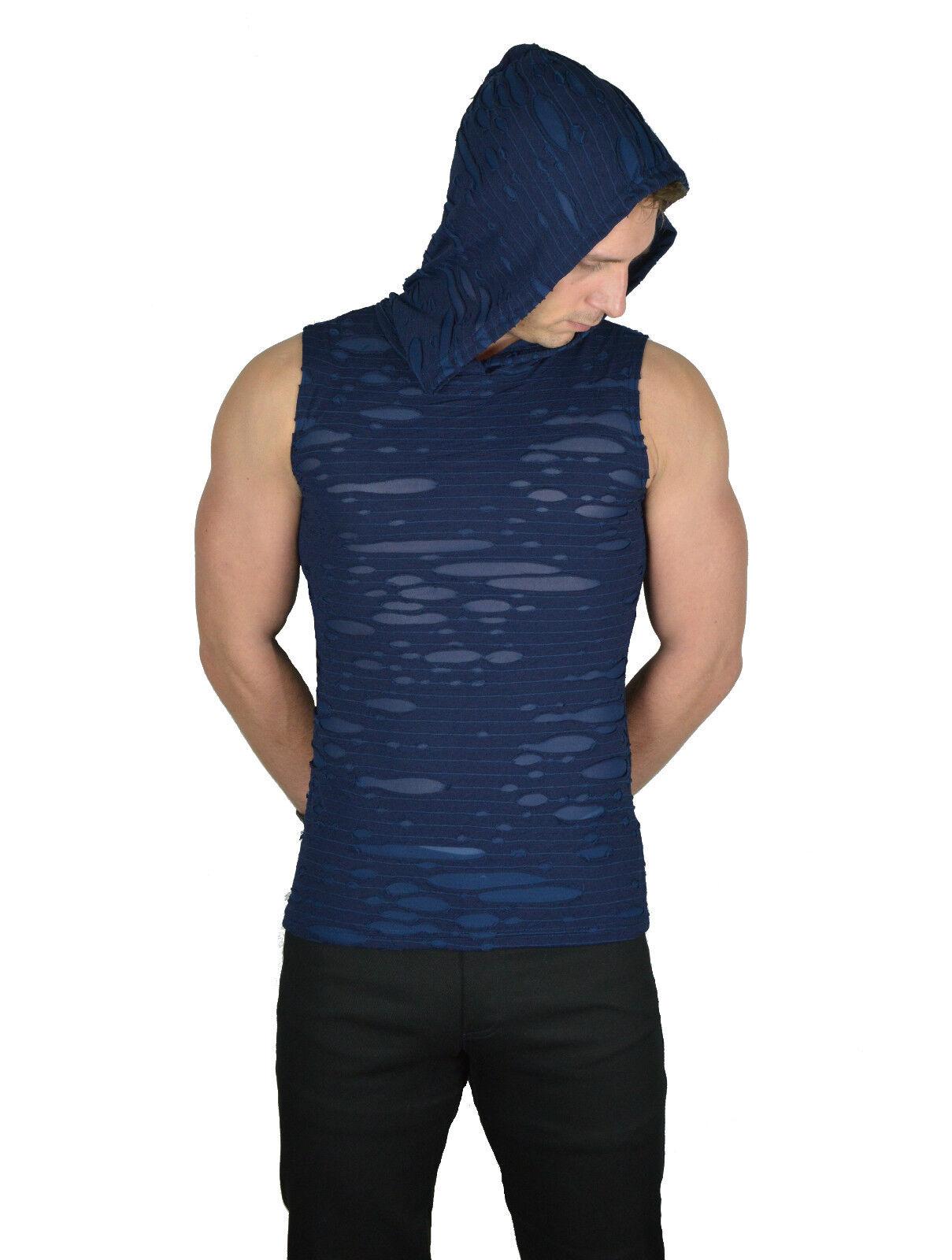 SHRINE GOTHIC RAVE PUNK CYBER EMO TECHNO BURNING MAN BLUE DECAYED SHIRT HOODIE Activewear