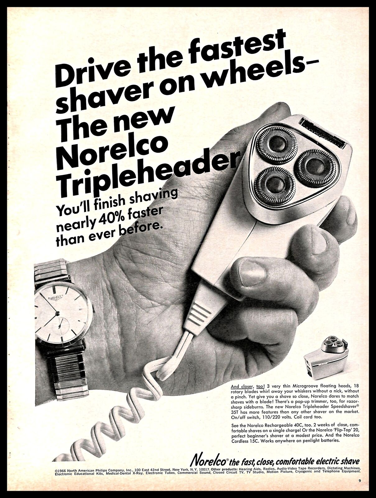 1966 Norelco Tripleheader Shaver Vintage PRINT AD Electric Appliance ...