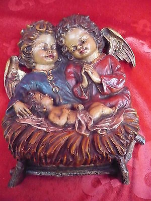 Pretty, Old Wall Relief __ 2 ANGEL AT THE NATIVITY SCENE __Handmade_