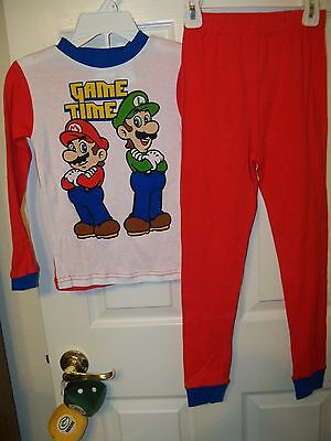 Super Mario Game Time Red Long 2 Piece Pajama Pj Set Boys Size 6
