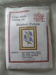 Beginners Small Cross Stitch Bluebell Picture Kit Complete with Frame Gift NEW