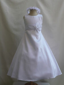 WHITE-BRIDESMAID-RECITAL-PARTY-FLOWER-GIRL-DRESS-18M-2-2T-3T-4-5-6-7-8-10-12-14