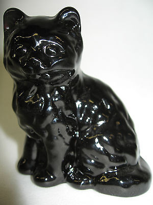Black amethyst glass Cat Kitten paperweight kitty art purple figurine halloween