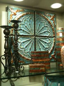 TUSCAN S/4 Aqua/Turquois Blue Embossed Medallion METAL WALL DECOR Art Set NEW