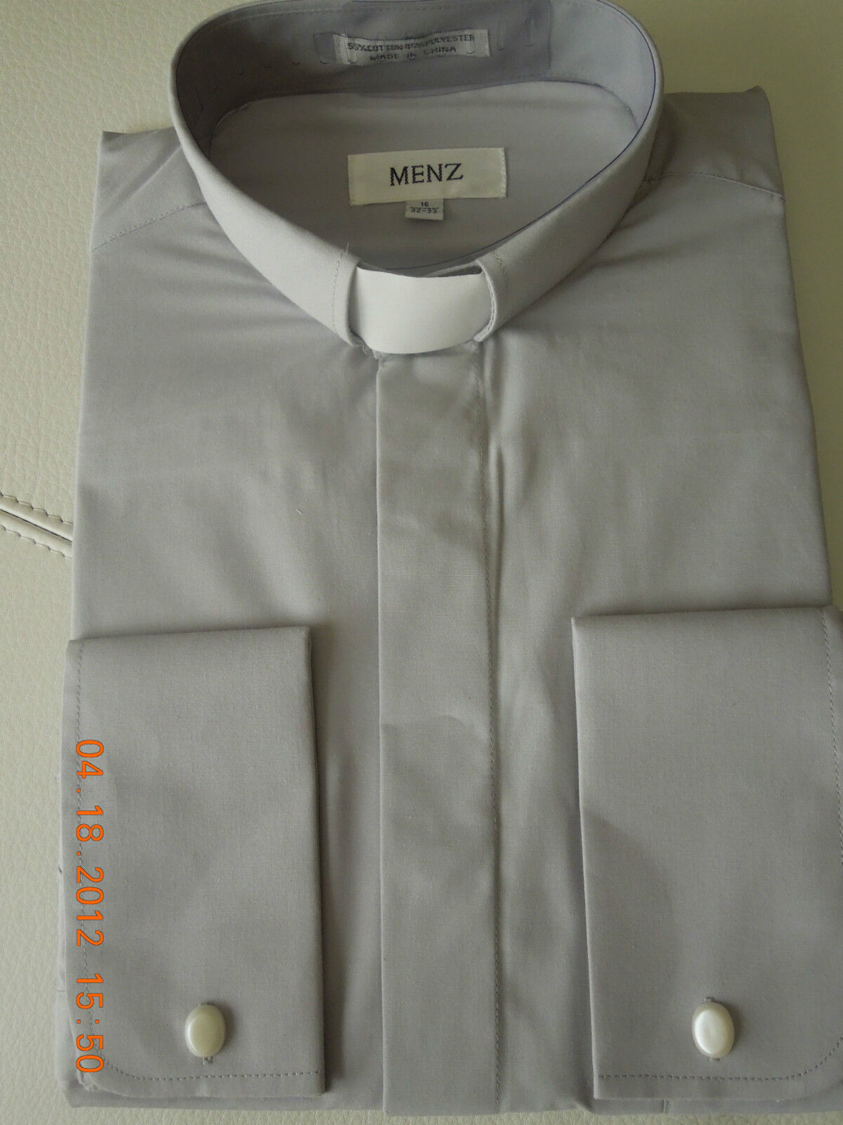 MENZ Mens Clergy Shirt (light Gray), French Cuff, Tab Col...