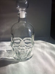 crystal head glass bottle skull face bones rocker biker gothic poison death