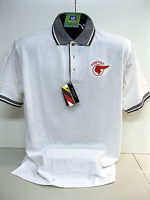 Gm Licensed Pontiac Indian Chief White/black Polo Shirts