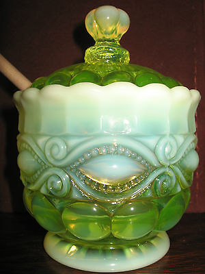 Yellow Vaseline Opalescent glass serving honey pot eyewinker pattern jar uranium