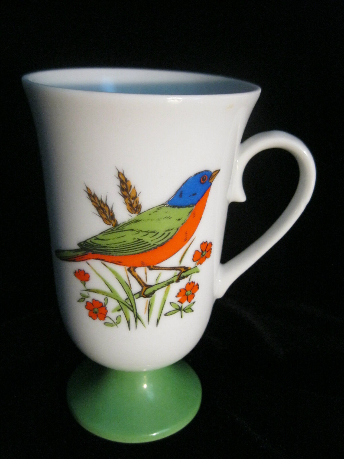 SET 4 DECORATIVE FOOTED MUGS WITH BIRD MOTIF - MADE IN JAPAN
