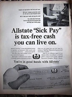 1966 Allstate Sick Pay Is Tax Free Cash You Can Live On Insurance Ad