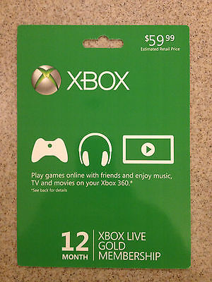 NEW Microsoft Xbox 360 Live 12-Month Gold Membership Subscription Card Free Ship on Rummage