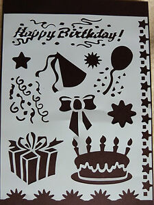 Plastic-PVC-Stencil-Multi-Birthday-Cake-Bow-Gift-BalloonStar-Swirl-NEW