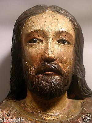 Heiligen-Statute um 18.Jh.,  vermutl. (Italien)Holzgeschnitzt mit Glasaugen: