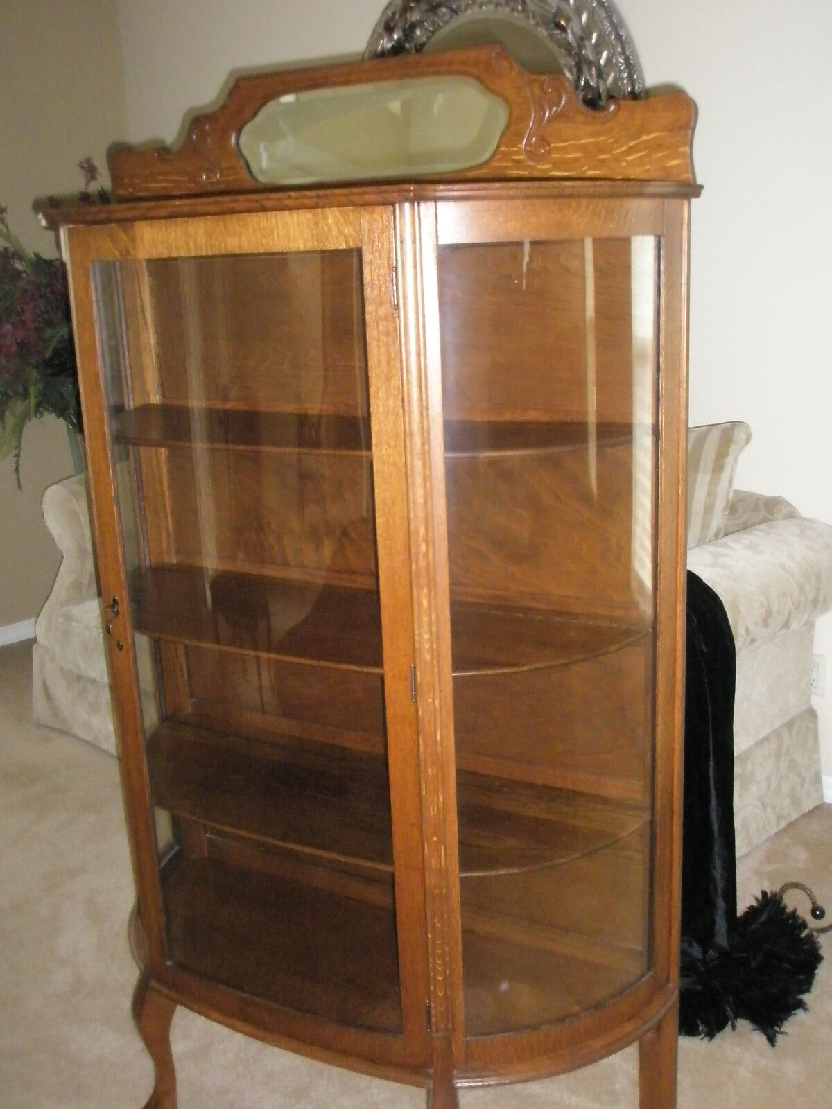 Antique larkin co oak china cabinet curved glass for China cabinet
