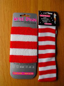 Red-White-Stripe-Headband-OR-Wristband-Sport-Sweatband-Fancy-Dress-118-118
