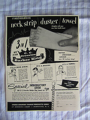 Vintage 1950 BARBER DUSTER/NECK STRIP/TOWEL C.C. CROSSTEX BARBER KING  Sign/Ad