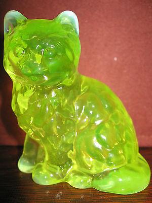 Vaseline opalescent glass Cat Kitten paperweight uranium yellow canary kitty art