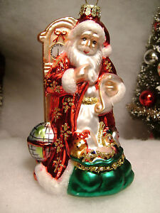 Glass-Santa-Claus-by-Grandfather-Clock-Christmas-Tree-Ornament