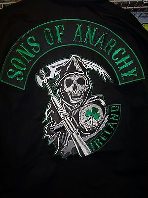 Sons Of Anarchy Ireland Beautiful Embroidered Quilt Lined Zip Up Jacket New