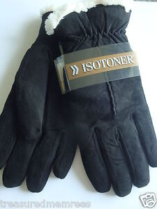 Isotoner Suede Gloves With Sherpa Soft Lining ~ Black ~ Size XL ~NWT MSRP $38.00