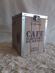 Old Fashioned Timber Cafe Kitchen Canister Box