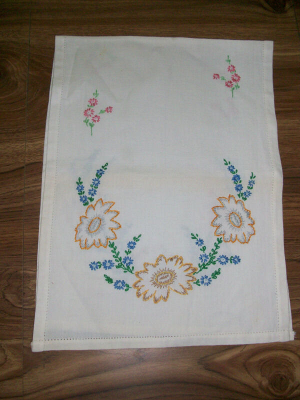 Linen Table Runner Orange Daisies Blue Pink Flowers Hand Embroider Dresser Scarf