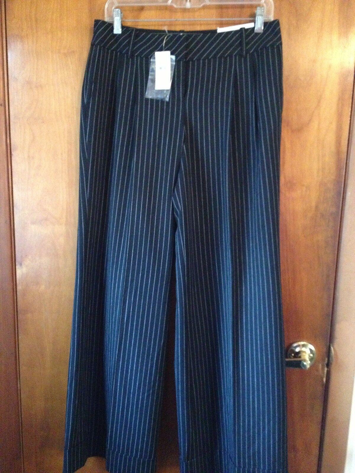 Ann Taylor Loft Marisa Black Pinstripe Pants Size 6