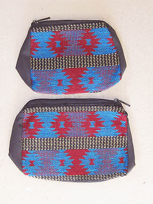 Southwestern Design Red, Blue, Tan Cosmetic, Jewelry Or Multi-use Bags - 2