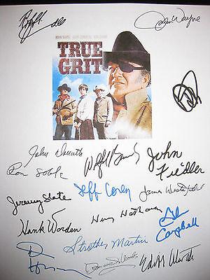 True Grit Signed Script X17 John Wayne Glen Campbell Robert Duvall Hopper reprnt