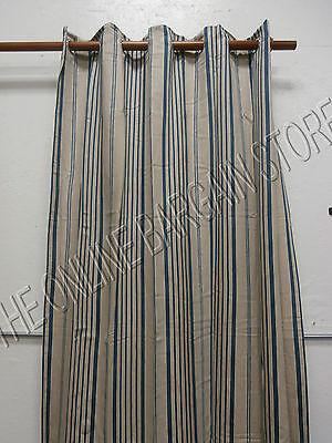 Ballard Designs Grommet Linen Lined Drapes Panels Curtains Blue Stripe 54X108