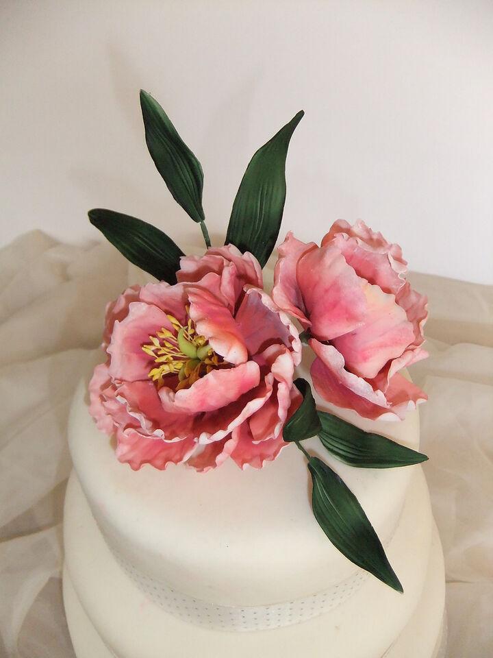 Sugar Peonies and Foliage Flower Spray Cake Decoratioon Topper