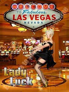 Lady luck las vegas casino pin up girl holiday advert small metal tin sign ebay - Small tin girl ...