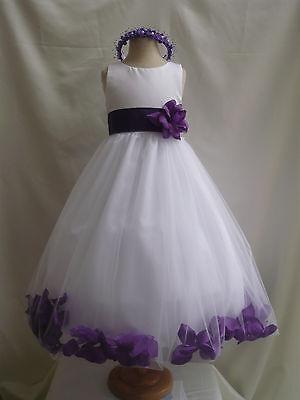 WHITE PURPLE WEDDING BRIDESMAID INFANT TODDLER PAGEANT DANCING FLOWER GIRL DRESS