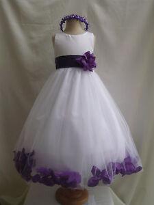 WHITE-PURPLE-WEDDING-BRIDESMAID-INFANT-TODDLER-PAGEANT-DANCING-FLOWER-GIRL-DRESS