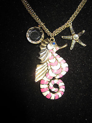 BETSEY JOHNSON NAUTICAL RARE PINK SEA HORSE WITH STARFISH DOUBLE NECKLACE