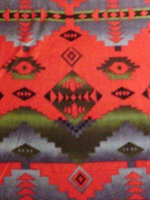 Navajo Indian Native American Deep Red Green Fleece Fabric