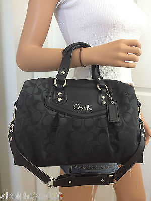 NWT COACH ASHLEY SIGNATURE SATEEN SATCHEL PURSE SHOULDER BAG BLACK NEW on Rummage