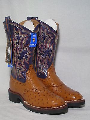 NIB Ariat Full Quill Ostrich Western Boots W/ Purple Tops Womens 8.5C (wide)