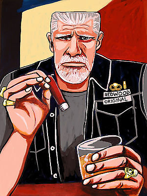 Ron Perlman Cigar Print Poster Motorcycle Vest Biker Cohiba Sons Of Anarchy