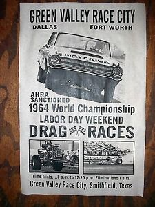 DRAG STRIP GREEN VALLEY GASSER '64 TEXAS FORT WORTH RACING POSTER 11x17