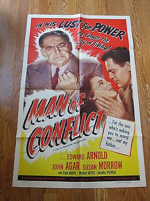 MAN OF CONFLICT Edward Arnold John Agar original movie poster 1953