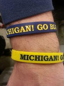 Michigan-Wolverines-Wristbands-Bracelet-NCAA-MICHIGAN-GO-BLUE-Set-Of-2