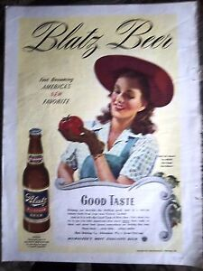 1944-BLATZ-Milwaukee-BEER-Pretty-Woman-Red-Hat-Tomato-Color-Ad
